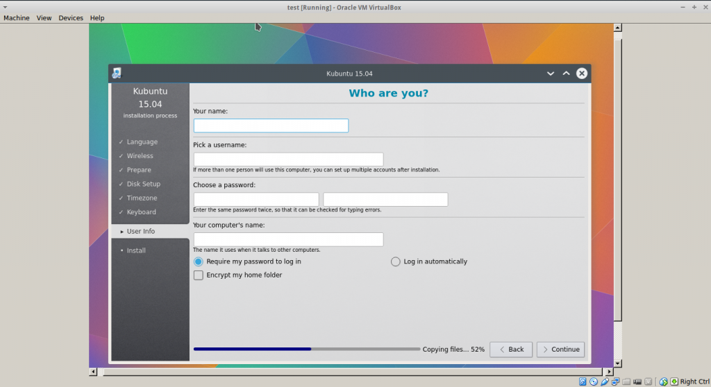 Linux installation in Virtualbox (Kubuntu 15.04)