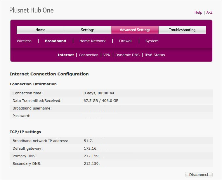 Plusnet Hub One Connection Screen
